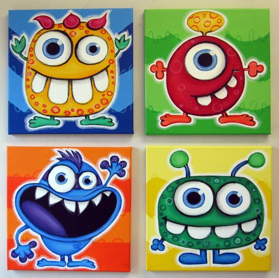 bLUE eYED mONSTeRS - set of 4 12x12 original acrylic paintings for kids room or nursery, monster art, monster wall art for kids