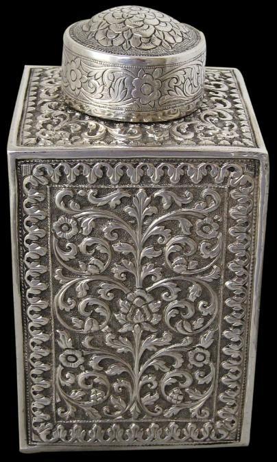 Cutch/Kutch Indian Silver Tea Caddy (Islamic).1880.