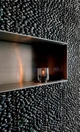 New bathroom obsession: stacked charcoal black pebble tile walls.