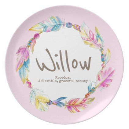 Feather bead watercolor name meaning willow pink dinner plate - pattern sample design template diy cyo customize