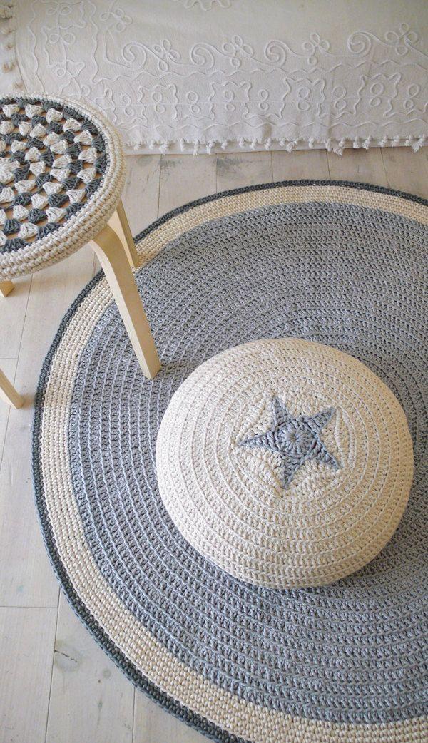 Crochet Stool Cover - greey and ecru.