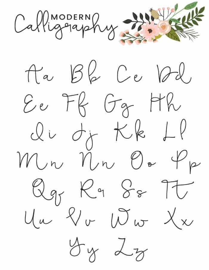 Free Printable Modern Calligraphy Alphabet Modern Calligraphy