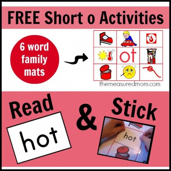 6 free short o activities: More Read 'n Stick mats! - The Measured Mom
