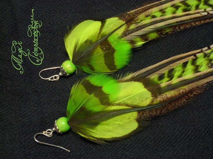 Купить Яркие салатово-зеленые серьги из перьев) - зелёный, зеленые серьги, серьги зеленые, серьги