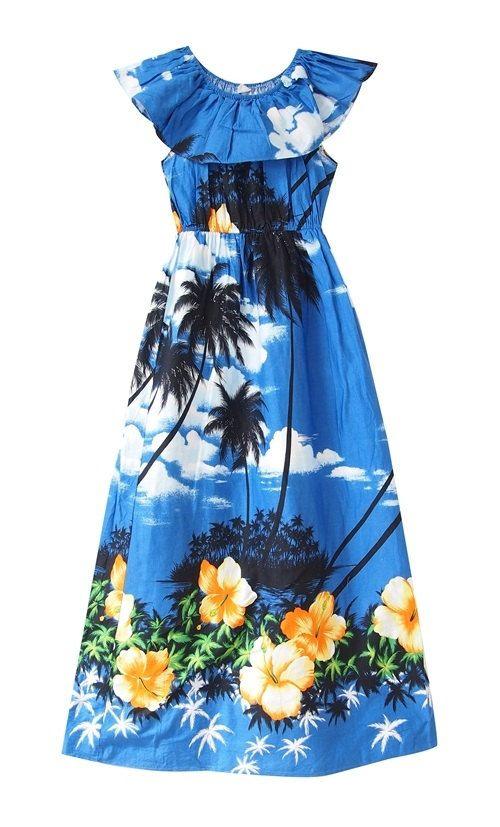Hawii dress/ cotton dress / maxi dress / blue dress by LPSNUG