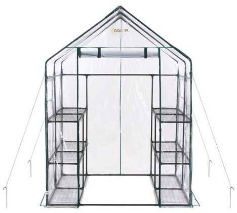 OGrow Deluxe Walk - In 6 Tier 12 Shelf Portable Greenhouse - Light Clear