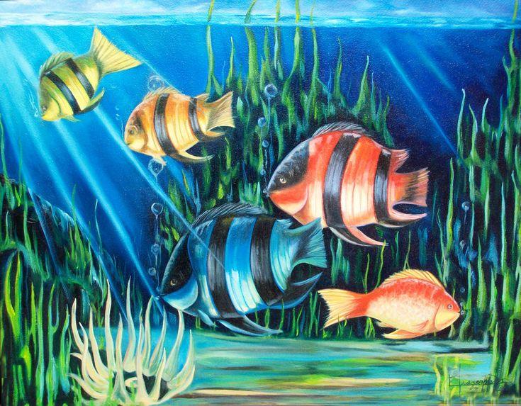M s de 25 ideas incre bles sobre pinturas de peces en - Cuadros con peces ...