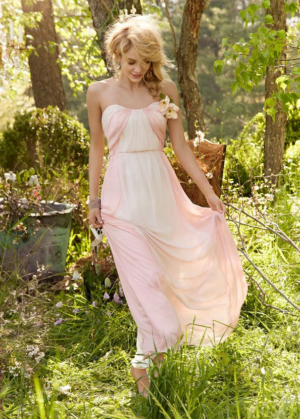 Blush and Rose chiffon over ivory lining strapless A-line gown, curved draped neckline, natural waist with gathered skirt. Bridesmaids Dresses: Junior, Maternity & Flower Girl Dresses by Jim Hjelm Occasions - Bridesmaids and Special Occasion Style jh5357 by JLM Couture, Inc.