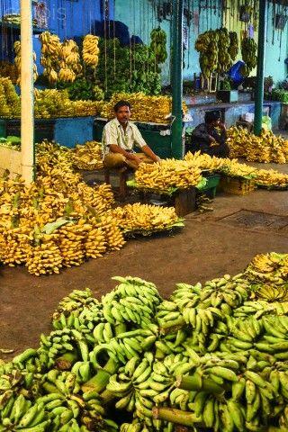 banana vendor, Devarala Market, Mysore City, Kamataka State, India | Jose Fuste Raga, Corbis