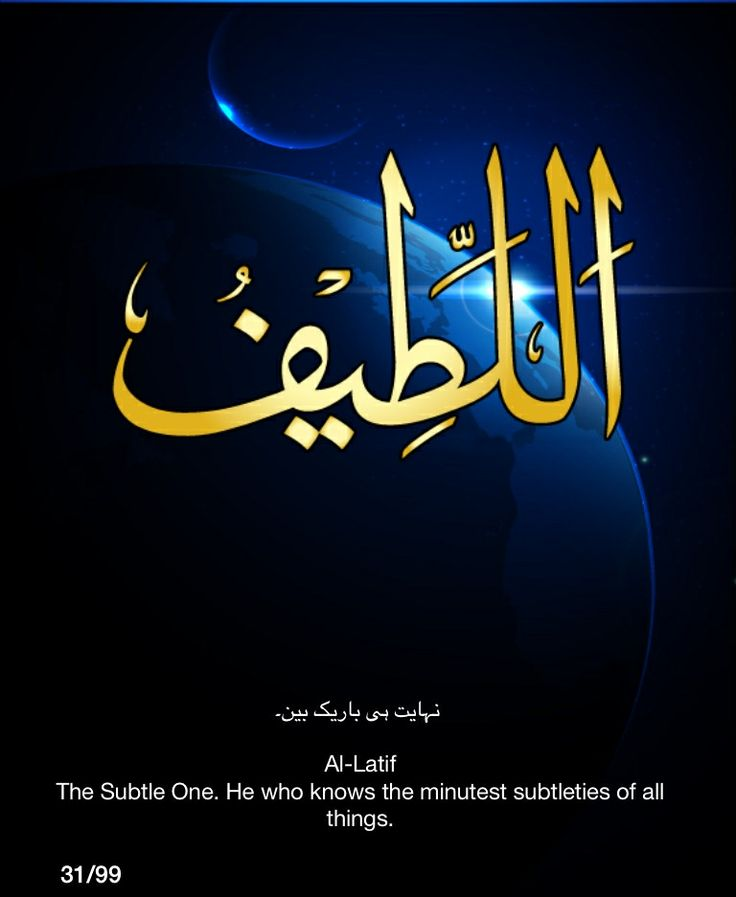 Al-Latif.  The Subtle One.  He who knows the minutest subtleties of all things.