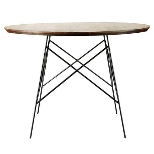 Tavolo per sala da pranzo in massello di noce e metallo L 120 cm