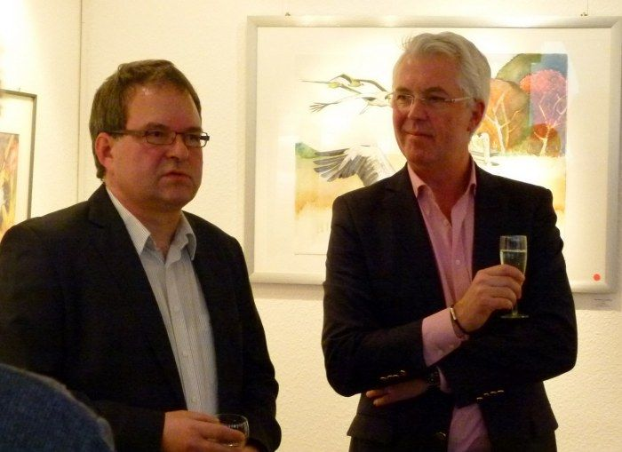 Ausstellung Faszination Kraniche | Frank Koebsch berichtet über seine Kranich Aquarelle (c) Maike Josupeit