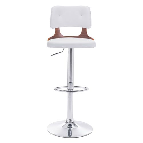 Lynx Bar Chair White Zuo Modern Contemporary Bar Height (28 To 36 Inch) Bar Stools Kitchen