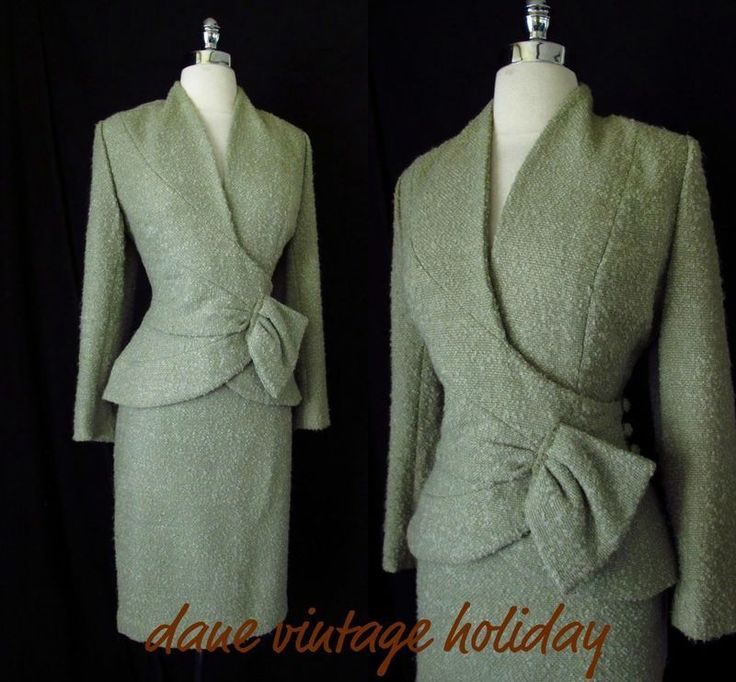 Vtg 40s 50s Wool LILLI ANN Wiggle Suit