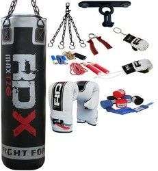 Authentic RDX 9PC Boxing Set 4ft Punch Bag,Gloves,Bracket MMA Pad  #RDXMAS
