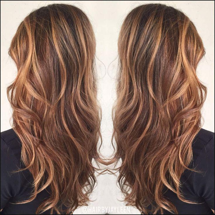 Braune Haarfarbe Karamell Highlights Karamell Balayage