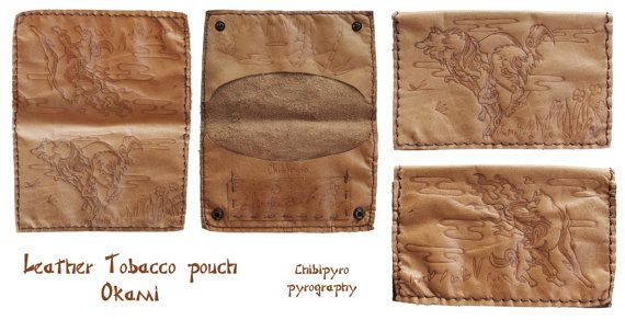 Handmade leather tobacco pouch Okami by ChibiPyroFable on Etsy    #chibipyro #artisan #craft #shop #leather #wood #woodburning #fire #fan #art #artisan #craft #handmade #etsy #shop #pyro #pyrography #burn #burning #fire #drawing #woodburner #cork #recycled #purse #comb #hairbrush #note #book #sketch #tobacco #pouch #bookmark #pochette #box #pencil #case