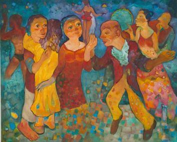 Miro Radev, Tančiareň, olej na plátne, 81x100cm, 1300€