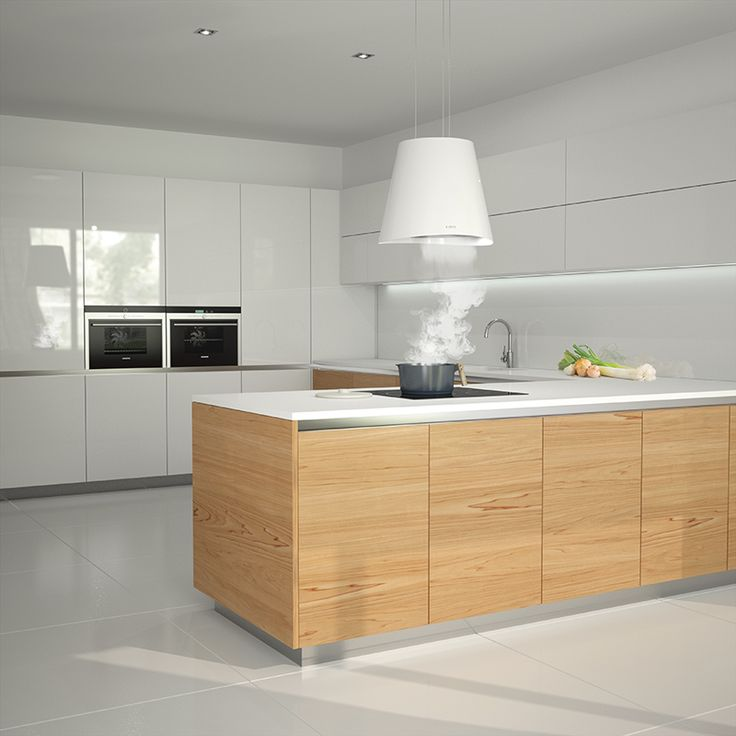Como mostrar muebles de cocina en ambientes exclusivos diseñados a medida... con nuestros render 3D. Diseño de ambiente de cocina en península. Combinación de puertas en laca blanca y madera. Render 3D realizado por estudibasic. #render #3D #render3d #diseño #cocinas