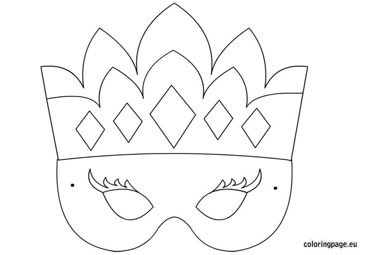 Princess mask template | Coloring Page