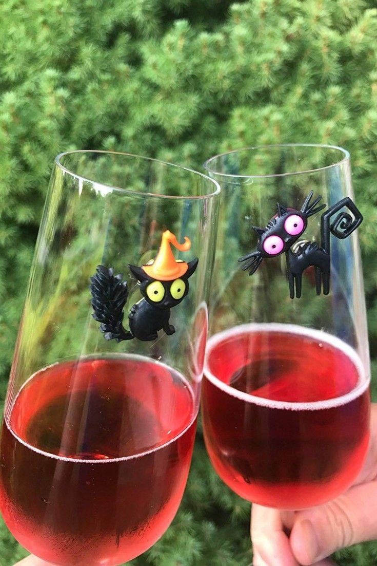 Halloween Black Cat Wine Glass Charms Wine Gifts Wine Purse Halloween Wine Glass