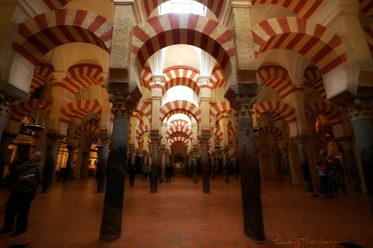 vaults columns inside the Mezquita In Cordoba Spain.