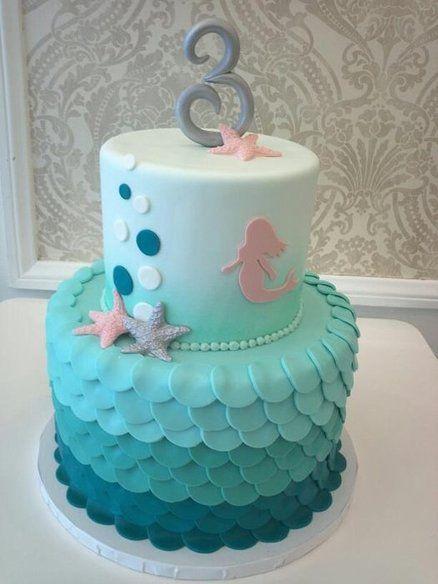 Gâteau décor petite sirène, mer, étoile de mer