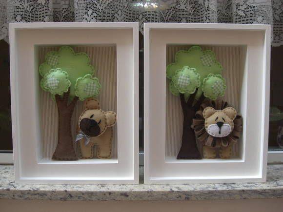 Quadro de decoração safari para quarto de bebê. O valor é unitário. R$ 100,00