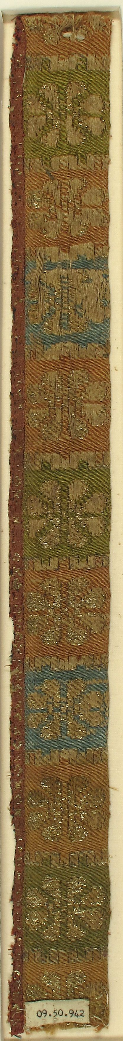 Brocade Textile Date: 15th century Geography: Made in Cologne, Germany Culture: German Medium: Silk, linen, metal thread Accession Number: 09.50.942