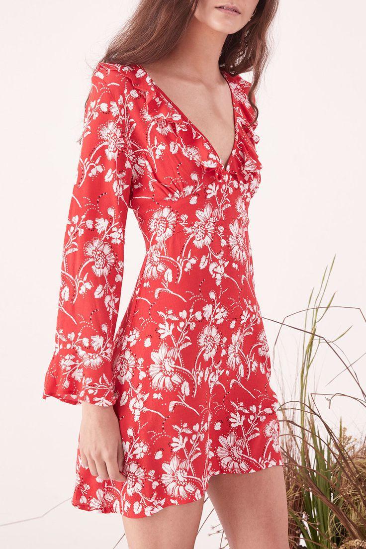 Steele - Wildflower Mini Long Sleeve Dress - Garnet