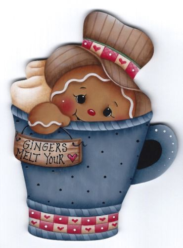 HP GINGERBREAD Teacup -  Adapted from a Jamie Mills-Price design and hand painted by Pamela House