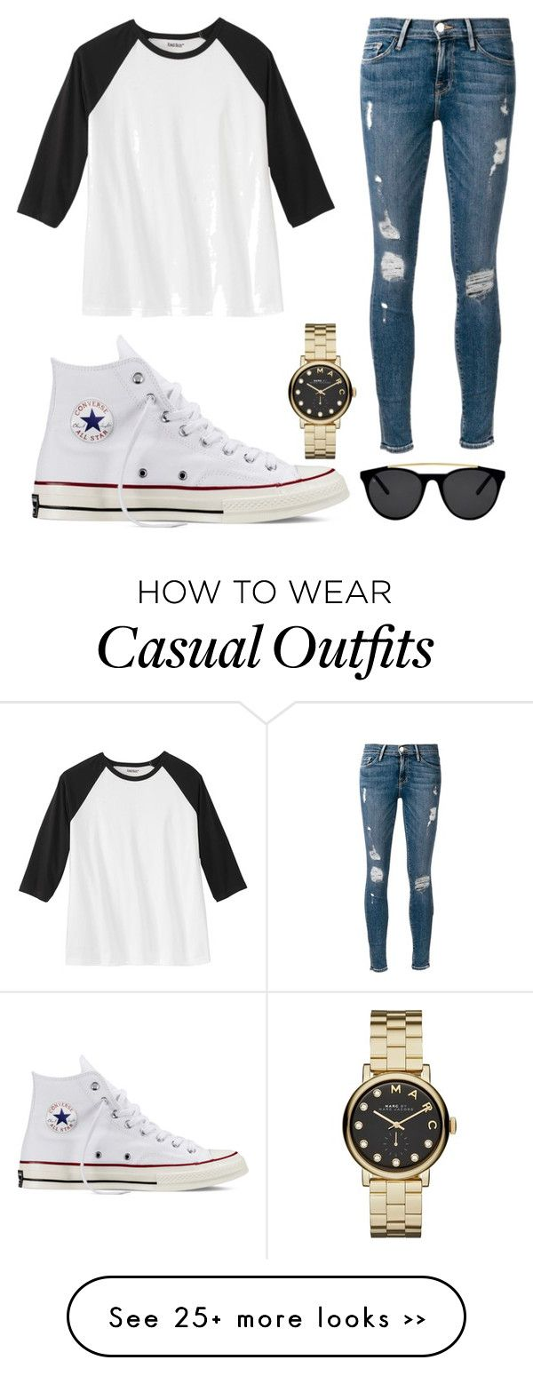"""Casual"" by keeyster-lilss on Polyvore featuring Frame Denim, Converse, Marc by Marc Jacobs and Smoke & Mirrors"