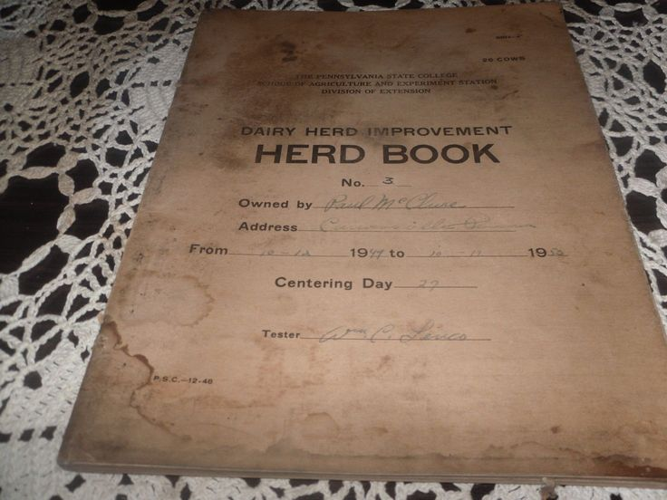 ANTIQUE VINTAGE LEDGER DAIRY HERD BOOK CATTLE FARMING STATE COLLEGE P.A. 1949