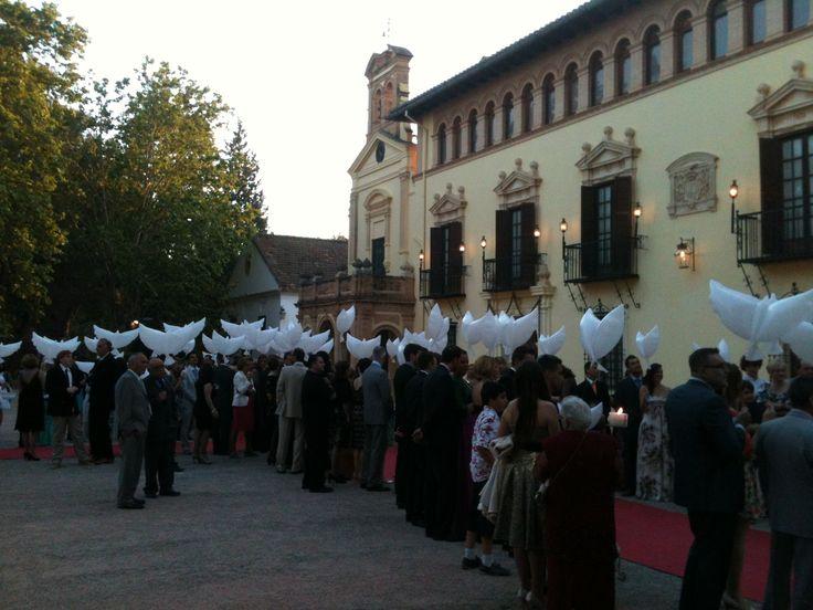 Boda R&L en Vallesa del Mandor. Sorpresa para la novia, suelta de deseos con Llumywings.