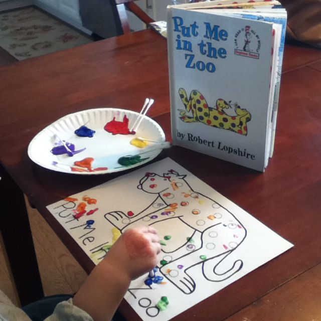 """Put Me in the Zoo"" art project.  We used Q tips to make dots."