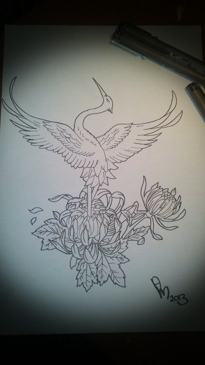 Japanese Crane Tattoo Idea