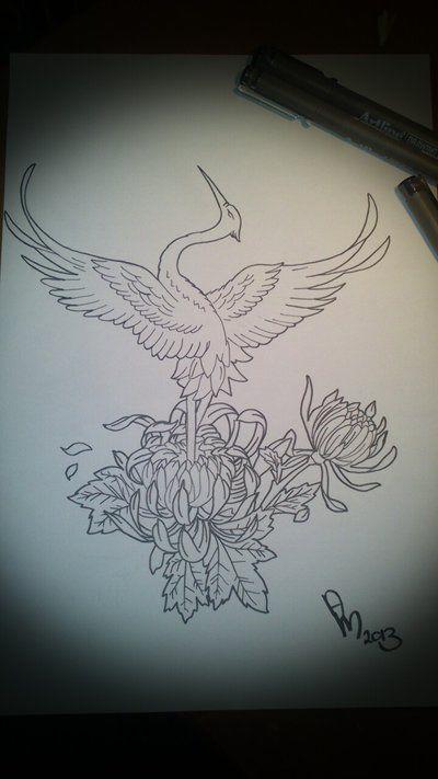 Japanese Crane Tattoo Idea