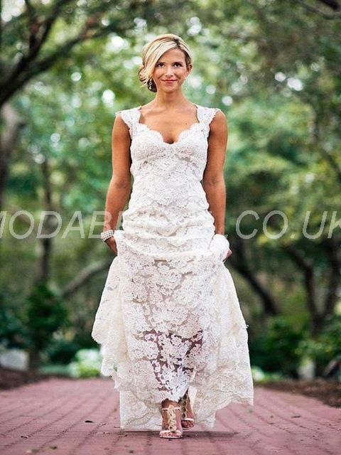 Cool USD Sleeveless Mermaid Sexy Deep V Neck Lace Wedding Dress