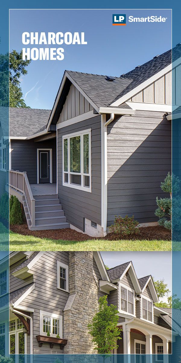 A Charcoal Exterior Provides Warm Curb Appeal Throughout The Changing Seasons Use Contrasting Si House Exterior Exterior House Siding Siding Colors For Houses