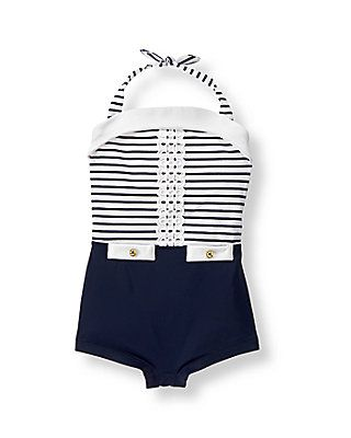Nautical Striped Swimsuit (Navy Stripe)- $39