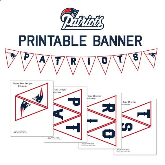 Patriots Printables | New England Patriots Printable Banner | Patriots Instant Download | Super Bowl Party Decor | Football Decor