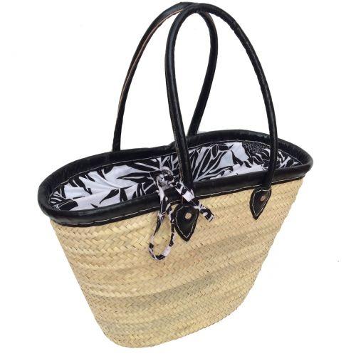 Picnic basket tropical black flower