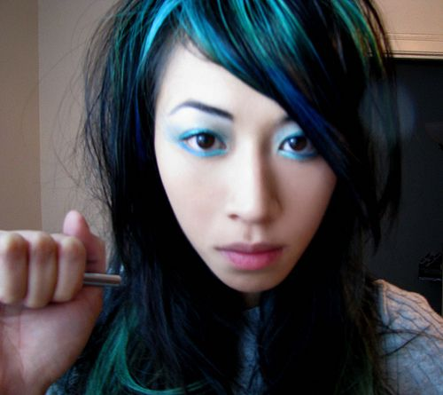 Black Hair With Turquoise Streaks Hair Color Envy