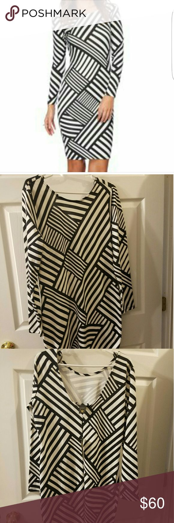 Body Con Striped Dress - Kardashian Kollection BRAND NEW!!! Black and white stripe body con dress. Fitted, knee length, long sleeves. No zippers or buttons. Very Flattering! Kardashian Kollection Dresses Long Sleeve