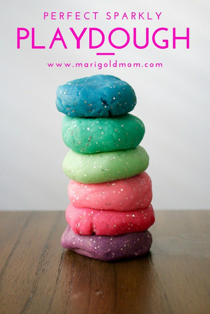 Marigold Mom | Make your own perfect sparkly playdough recipe #DIY #partyfavor