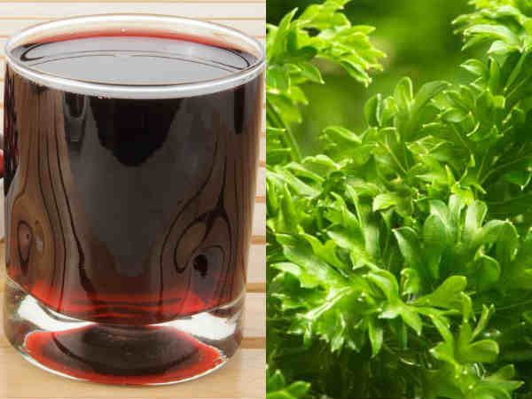 Healthy herbs and juice to cleanse the kidneys