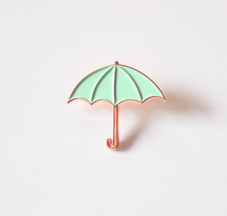 Mint Green and Rose Gold Umbrella Lapel Pin by TheSilverSpider on Etsy