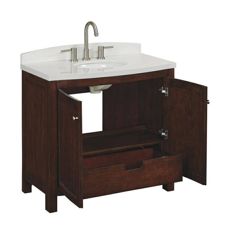 shop allen roth 36 in cherry sable moravia single sink on lowes vanity id=51560