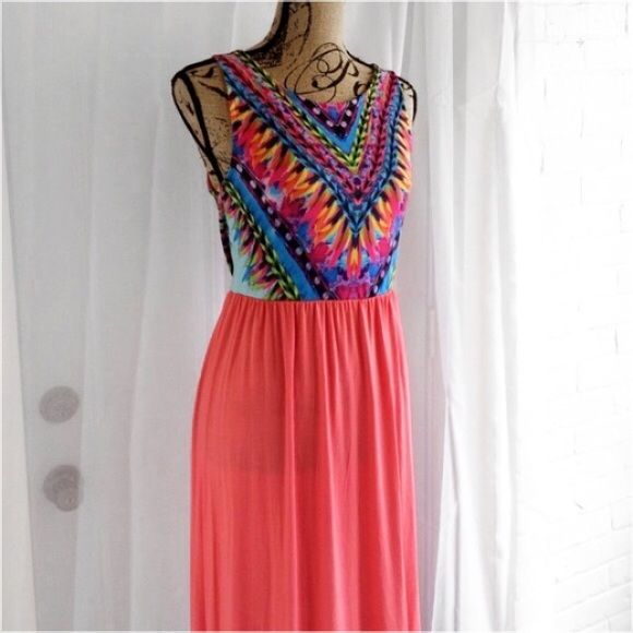 "Boho Chic Coral Maxi Dress Skirt color is coral. 95% rayon 5% spandex. Very stretchy! All measurements taken laying flat and are approximate. Length is from top of strap to bottom hem. Made in USA. You can purchase this listing! Bundle & Save!   L- pit to pit- 18""  waist- 14 1/2""  length- 59"" posh on first boutique Dresses Maxi"