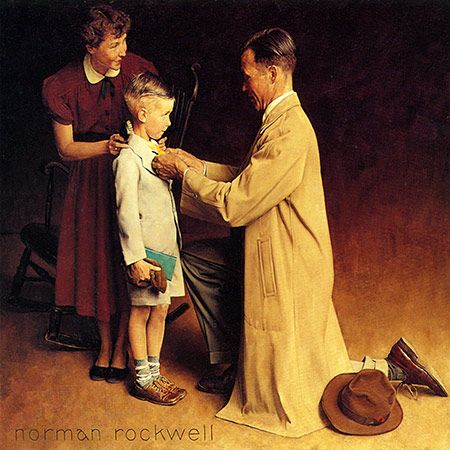 'His First Day of School', Norman Rockwell, September 14, 1935
